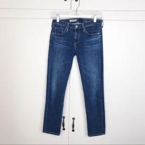 AG the stilt cigarette crop jeans dark medium wash